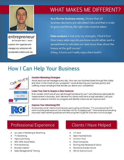 Kevin Carlow Personal Marketing Resume